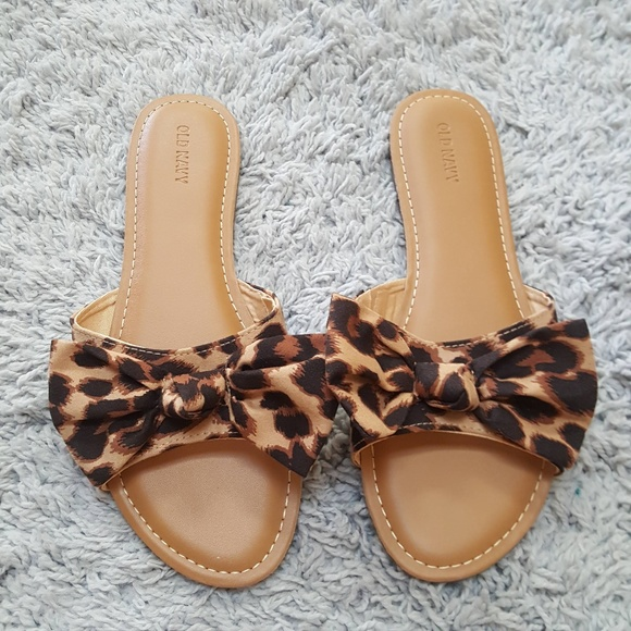 leopard print bow sandals